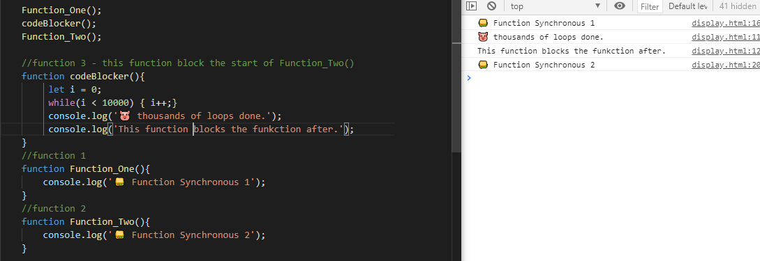 javascript code snippet with normal function declared with a for loop looping 10000 times.