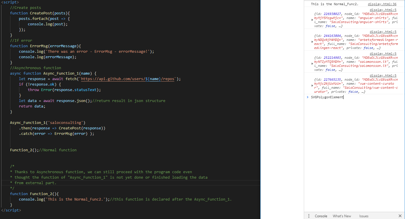 code snippet of javascript code with asynchronous function declared with github get request.